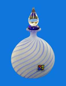BLOWN GLASS VASE PERFUME DECANTER Bäz-DöLLE GALLERY LAUSCHA GERMANY FROST WHITE