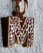 "14k  SOLID Yellow Gold INITIAL ""M"" PENDANT with12 DIAMONDS, 18"" Chain, 4gms!"
