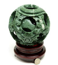 """6 1/4"""" Hand Carved 8 layers Green Jade / Stone Magic Puzzle Ball Sphere"""