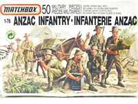 1989 Matchbox 40908 ANZAC Infantry Soldiers 1:76 Scale Model Kit 50 Military Pcs