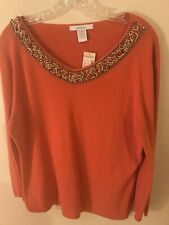 Dressbarn XL Ladies Sweater NWT Bedazzled Neckline