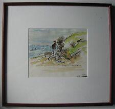 "MARY HAMMOND AUSTRALIAN FRAMED INK WC ""MAN ON ANGLESEA BEACH"" 1996"