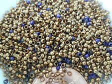 ANTIQUE FRENCH STEEL CUT BEADS TINY MICRO METAL SEED PURSE REPAIR PURPLE GOLD