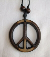 Resin Antique Wood Style Peace Symbol on Cord Necklace - CND Hippy Boho Yin Yang
