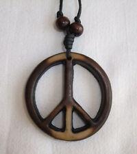 RESINA antico legno stile Simbolo di pace in corda COLLANA-CND Hippy Boho Yin Yang