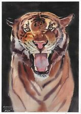 original drawing A4 479LM art by samovar watercolor tiger Signed 2020