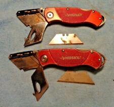 2 HUSKY BRAND RED HANDLE UTILITY KNIFE KNIVES BELT CLIP LOCKBACK USED COND