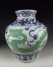 China Antique Blue&White Porcelain Vase with Green Dragon Deco