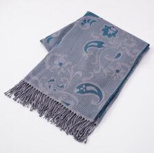 NWT $925 BATTISTI NAPOLI Gray and Teal Paisley Jacquard Wool Throw Blanket + Box