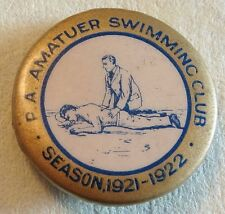 Vintage Tin Badge Pin Back P.A. Amateur Swimming Club Season 1921-1922 Ex/Con 74