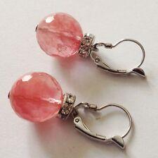 B.O dormeuse couleur argent pampille perle de verre facette rose cristaux 4238