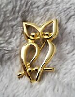Vintage Gold tone Owl Brooch/Scarf Pin decoration stamped