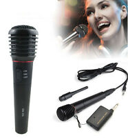 Dynamic Karaoke Vocal Wireless Wired Handheld Microphone Mic FM Receiver System