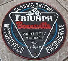 SUPERB HEAVY CAST IRON SIGN TRIUMPH BONNEVILLE WORLDS FASTSEST MOTORCYCLE