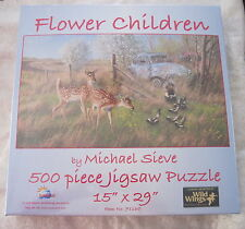 FLOWER CHILDREN by MICHAEL SIEVE - SunsOut 500 piece puzzle Deer VW Bugs - NEW
