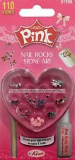 KISS PINK Nail Art Kit ROCKS+STONES Faux Jewels ASSORTED COLORS+SHAPES #51996