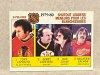 1980-81 O-Pee-Chee Shutout Leaders #168 Tony Esposito Cheevers Sauve Vachon