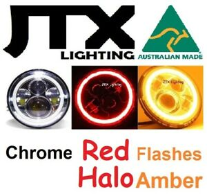 """7"""" LED CHROME Lights RED Halo Ford Mustang Fastback Shelby GT Convertible Cobra"""