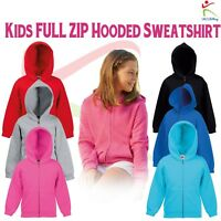 Fruit Of The Loom Kids Classic Zip Hooded Sweatshirt Jacket Plain Casual Hoodie
