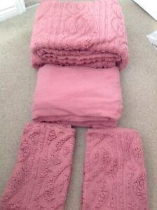 Cozee Home Ultrasonic Sherpa King size 4 piece duvet set Blush pink