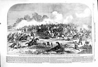 Original Old Antique Print 1860 King Dragoon Guards Tartar Cavalry Pekin Battle