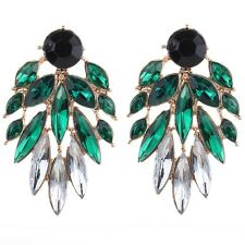 Fashion Gold Plated Oval Rhinestone Crystal Stud Earrings Jewelry For Women