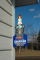 OLD STYLE CAR & TRUCK CHAMPION SPARK PLUG DIE-CUT FLANGE SIGN USA MADE MINT