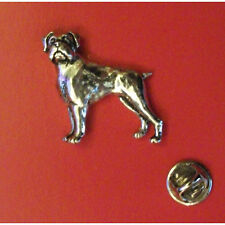 English Pewter BOXER dog Pin Badge Tie Pin / Lapel Badge XTSBPD8
