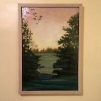 """ORIGINAL SIGNED BY ARTIST OIL PAINTING  """"THE PASTURE"""" CUSTOM FRAMED 21 X 14 1/2"""