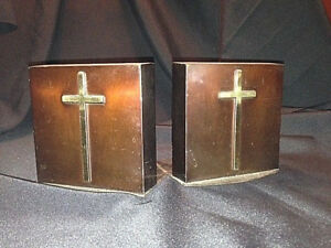 """Vinatge Metal WITH BrassCROSS Book Ends - Mid Century - by Phila Manuf Co 7"""" T"""