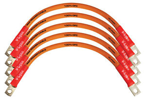 """Club Car Golf Cart Battery Cable Set of 5 4 GAUGE 9"""" 100% copper w/ 5/16"""" hole"""