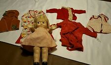 "Vintage 14"" Doll & Doll Clothes ♡ Big Eyes ♡ Unmarked In Pink & White Dress"
