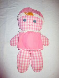 """1975 Fisher Price Lolly Dolly Rattle Stuffed Doll 13"""" Pink Gingham Toy *READ*"""