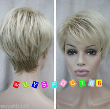 New sexy ladies Short Light Blonde Natural Hair wigs / Free Wig cap
