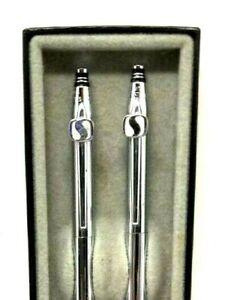 Safeway Logo S  on Chrome Quill Ballpoint & Pencil Set W/ Box USA Vintage (E11)