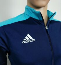 Adidas Mens Track Jacket Top Navy Turquoise Firebird Trefoil Size M Chest 42