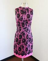 MILLY New York Pink Black Floral Lace Print Sheath Dress Sz 4 Wool Silk Cocktail