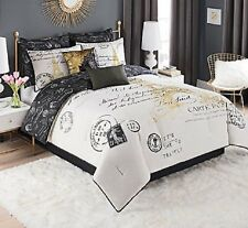 King Size Bedding Paris Comforter Set Decor For Bedroom French White Gold Black