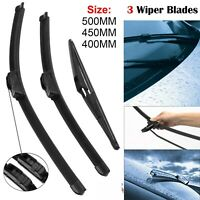 3Pcs Front & Rear Windscreen Flat Aero Wiper Blades Set For Vauxhall Corsa C MK2