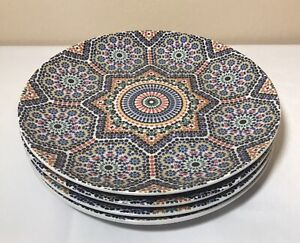 """Set of 4 made in Morocco World Market Fez Moroccan Mosaic Tile Pattern 8"""" Plates"""