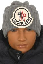 NEW MONCLER GRAY CURRENT COLLECTION LOGO WOOL BEANIE HAT ONE SIZE