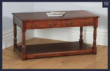 Vintage English Georgian Style Oak Rectangular Coffee Pot Board Table c1980