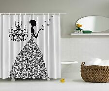 Black White Butterfly Goddess Woman Fabric Shower Curtain Digital Art Bathroom