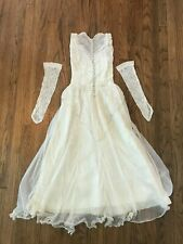 Antique Vtg 40s Sleeveless Button Back Lace Gloves Ivory Wedding Gown Dress Xs