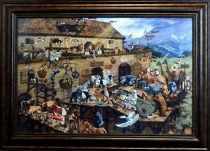 """Michael Dudash """"Its a Zoo in There"""" Noah's Ark Print Artists Proof-Framed"""