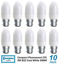 10 x 5W B22 Compact Fluorescent Lamps / Globes / Bulbs 5000K Cool White CFL