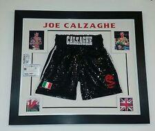 * RARE JOE CALZAGHE Signed Shorts Trunks AUTOGRAPH Display * RARE GLITTER SHORTS