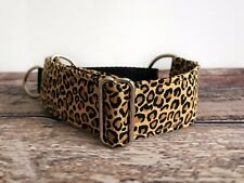 Leopard Print Greyhound Martingale, Wide Dog Collar For Sighthounds