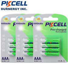 12pcs AAA NiMh Rechargeable Batteries 600mAh 1.2V Remote Control Battery PKCELL