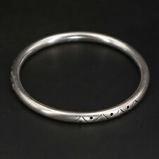"Vtg Sterling Silver - Mexico Taxco Geometric Hollow 8"" Bangle Bracelet - 16g"